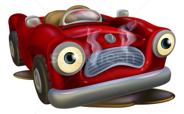 Zdjęcia stock: Cartoon · samochodu · naprawy · ilustracja · charakter · twarz