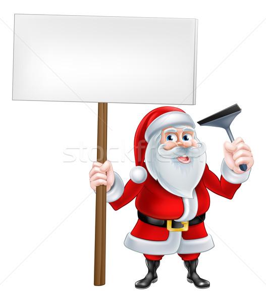 Santa Sqeegee Sign Stock photo © Krisdog