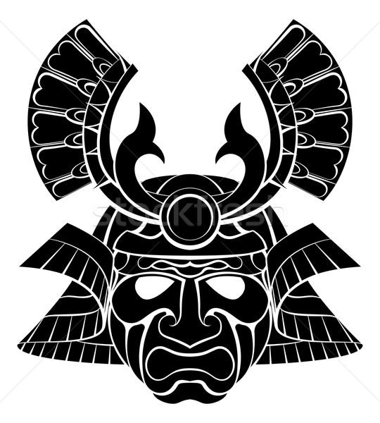 Samurai máscara guerreiro capacete projeto gráfico Foto stock © Krisdog