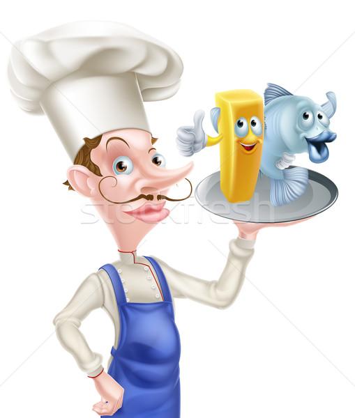 Chef poissons puces cartoon plaque Photo stock © Krisdog
