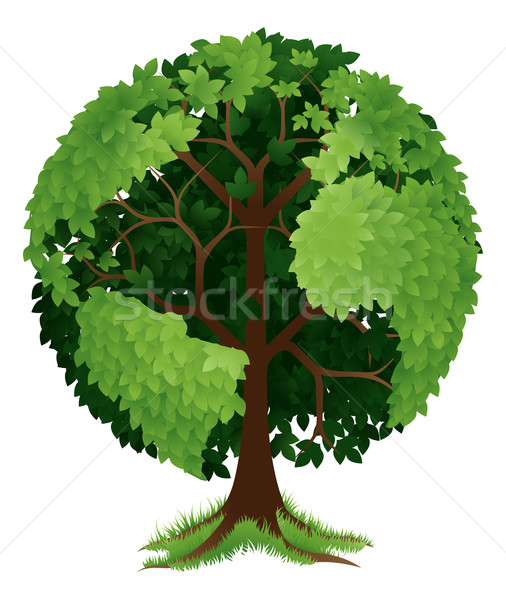 Foto stock: árvore · terra · globo · ilustração · crescente · forma