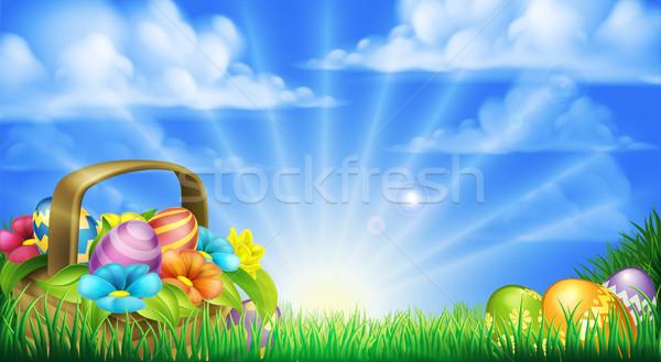 Сток-фото: пасхальных · яиц · корзины · Пасху · сцена · полный · украшенный