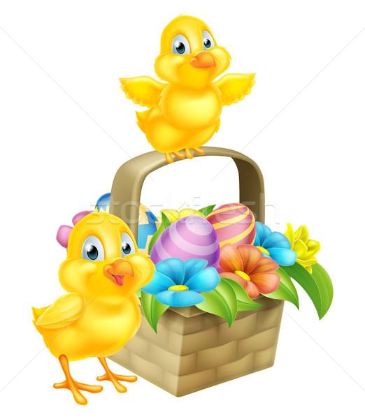 Cartoon Chicks and Easter Eggs Basket Stock photo © Krisdog