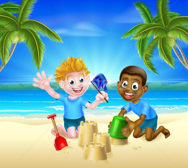Cartoon дети песок молодые ковша Сток-фото © Krisdog