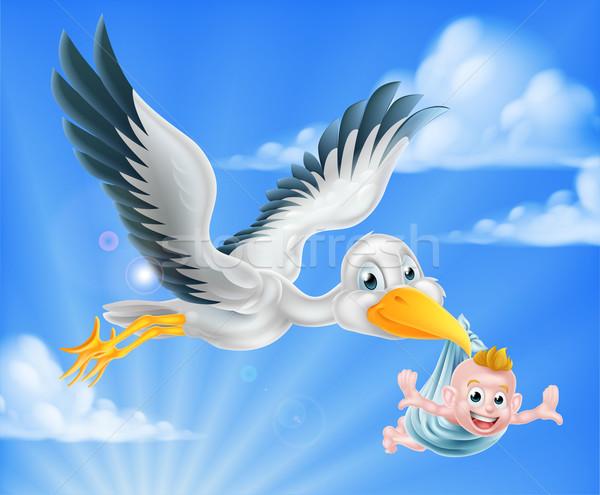 Ooievaar vliegen baby cartoon vogel Stockfoto © Krisdog