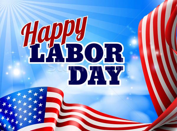 Happy Labor Day American Flag Banner Stock photo © Krisdog