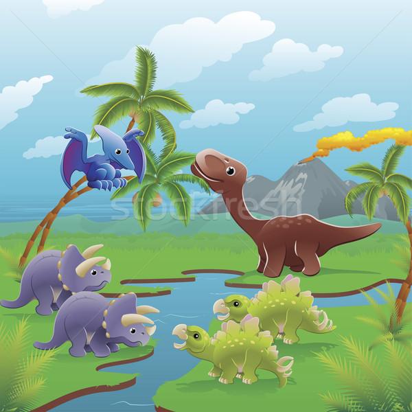 Cartoon dinosaurs scene.  Stock photo © Krisdog