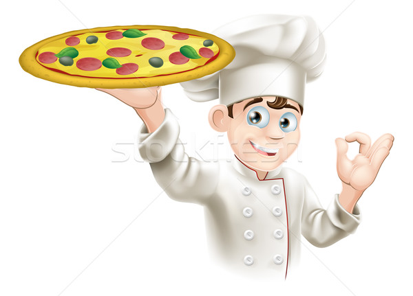 Okay teken pizza chef illustratie Stockfoto © Krisdog