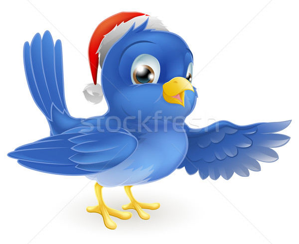 Christmas Santa Hat Pointing Bluebird Stock photo © Krisdog