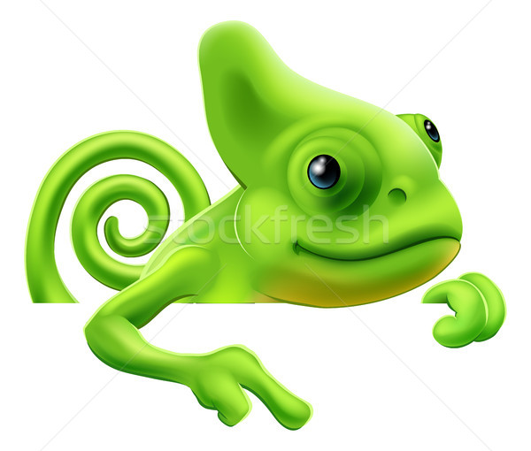 Cartoon chameleon pointing down Stock photo © Krisdog