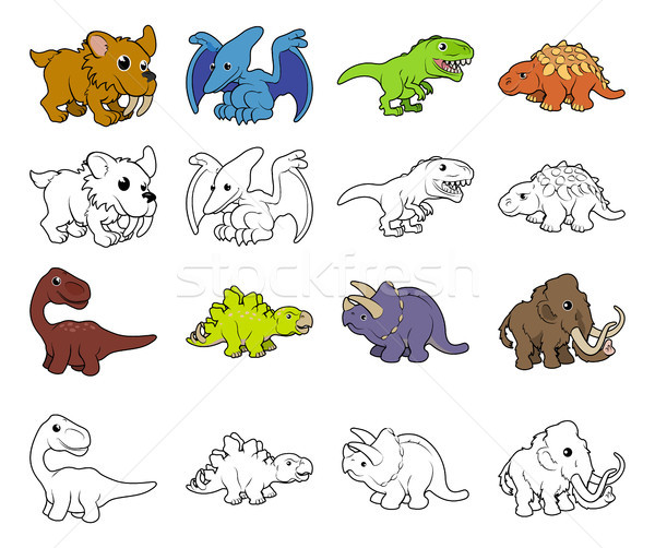 Cartoon Dinosaur Illustrations Stock photo © Krisdog