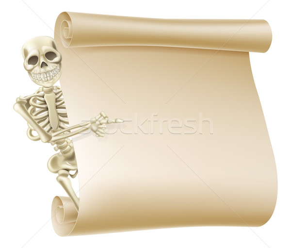 Halloween Skeleton Scroll Stock photo © Krisdog