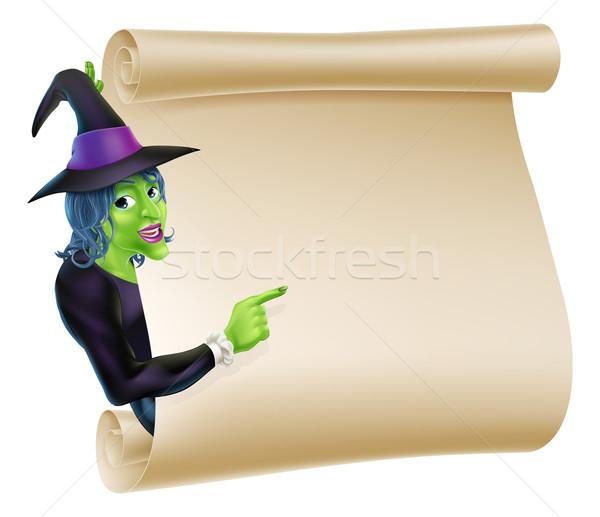 Stok fotoğraf: Halloween · cadı · ilerleyin · örnek · karakter · imzalamak