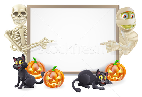 Halloween Sign with Skeleton and Mummy Stock photo © Krisdog