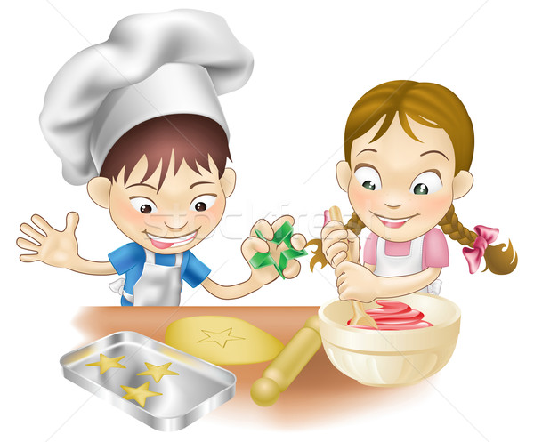 Stock photo: two children having fun in the kitchen