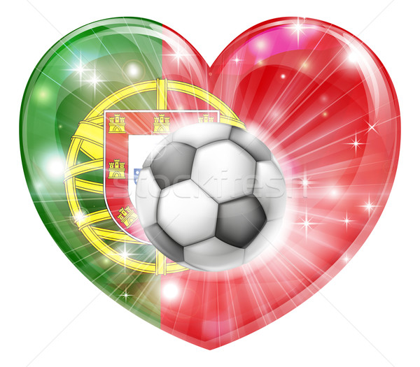 Portugal voetbal hart vlag voetbal bal Stockfoto © Krisdog
