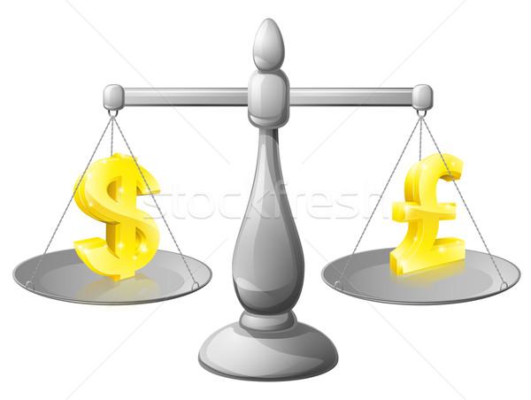 Dollar pound exchange scales Stock photo © Krisdog