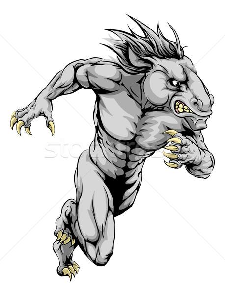 Caballo deportes mascota ejecutando hombre carácter Foto stock © Krisdog