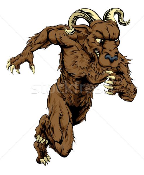 Carnero deportes mascota ejecutando ilustración carácter Foto stock © Krisdog