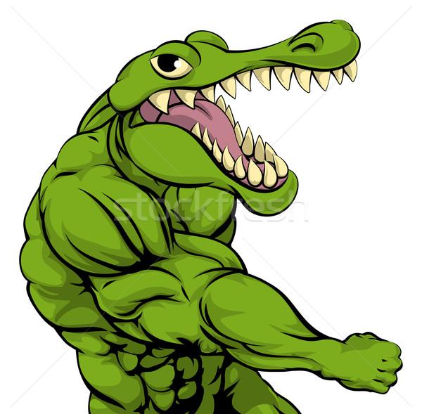 аллигатор крокодила талисман кулаком лице спорт Сток-фото © Krisdog