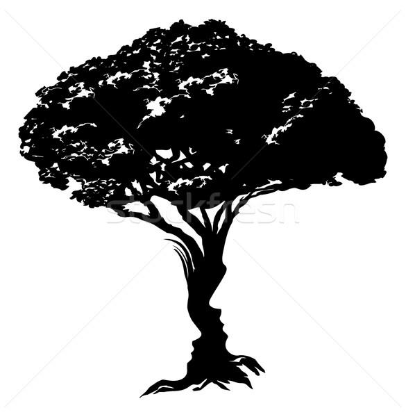 Twarze drzewo ilustracja streszczenie złudzenie optyczne człowiek Zdjęcia stock © Krisdog
