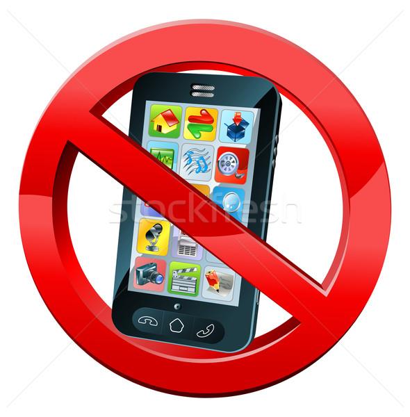 Geen telefoon teken mobiele telefoon draaien af Stockfoto © Krisdog