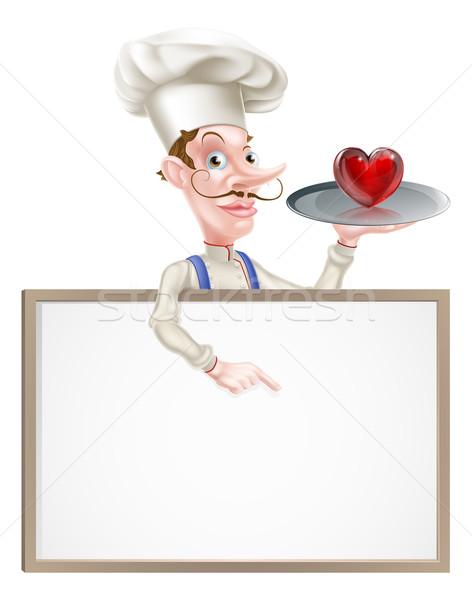 Szív szakács felirat illusztráció rajz tart Stock fotó © Krisdog