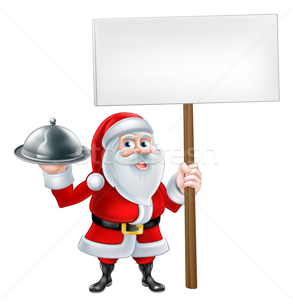 Cartoon Santa Holding Platter Sign Stock photo © Krisdog