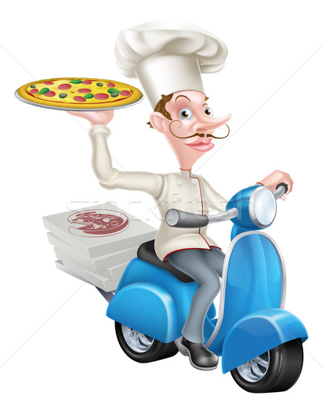 Pizza Delivery Chef on Moped Stock photo © Krisdog