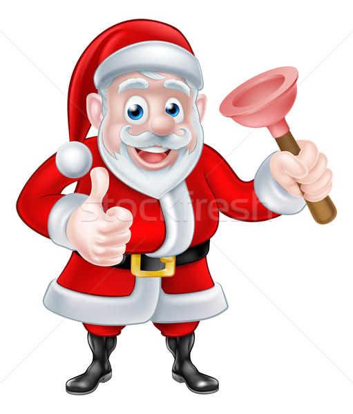 Cartoon Santa Giving Thumbs Up and Holding Plunger Stock photo © Krisdog