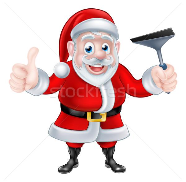 Cartoon Santa Giving Thumbs Up and Holding Squeegee Stock photo © Krisdog