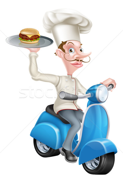 Cartoon Chef on Scooter Moped Delivering Burger Stock photo © Krisdog