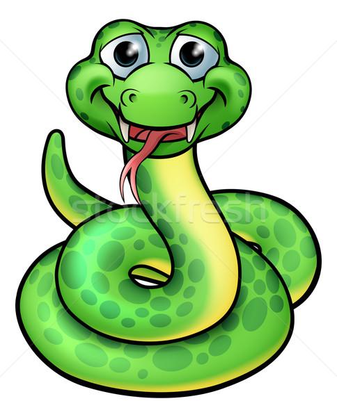 Przyjazny cartoon węża charakter ilustracja projektu Zdjęcia stock © Krisdog