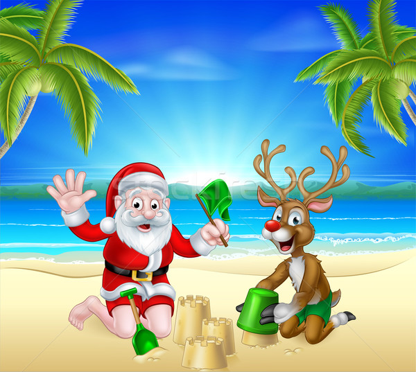 Christmas Santa and Reindeer on Summer Beach  Stock photo © Krisdog
