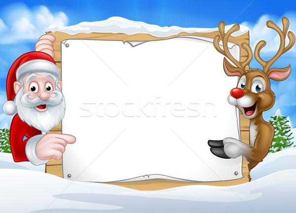 Santa and Reindeer Christmas Sign Background Stock photo © Krisdog
