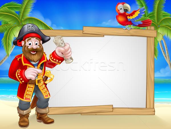 Pirate Cartoon Beach Sign Background Stock photo © Krisdog