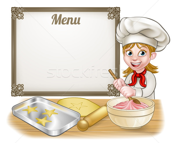 Woman Baker or Pastry Chef Menu Sign Stock photo © Krisdog