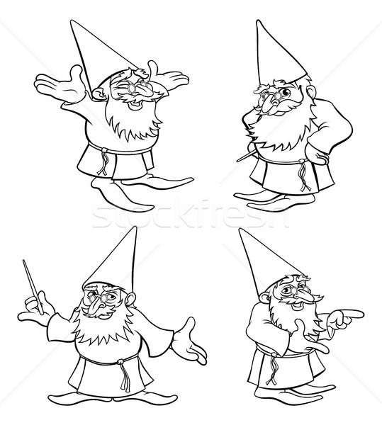 Cartoon Wizard Set Stock photo © Krisdog