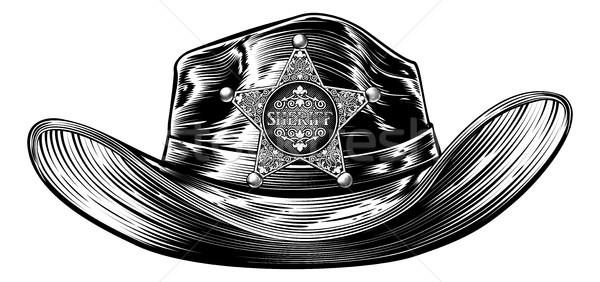 Sheriff cowboykalap csillag kitűző cowboy kalap Stock fotó © Krisdog