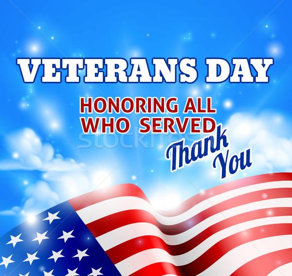 Nap amerikai zászló égbolt köszönjük üzenet felhők Stock fotó © Krisdog