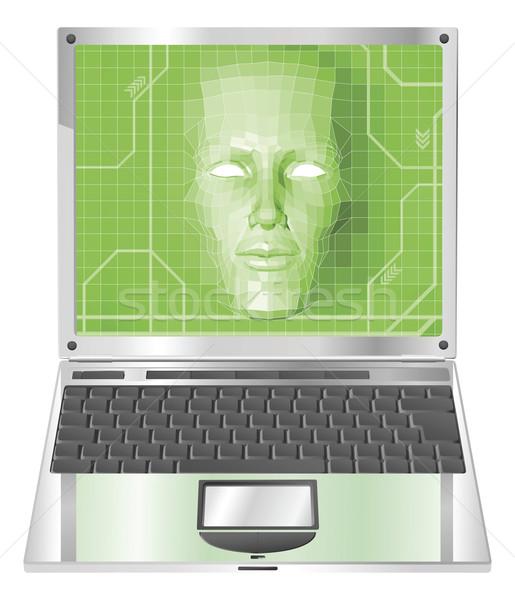 Laptop kobieta ilustracja działalności technologii avatar Zdjęcia stock © Krisdog