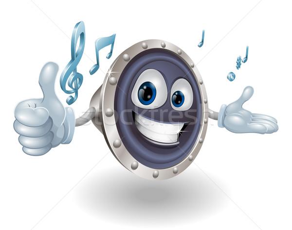Spreker mascotte gelukkig muziek merkt muziek Stockfoto © Krisdog