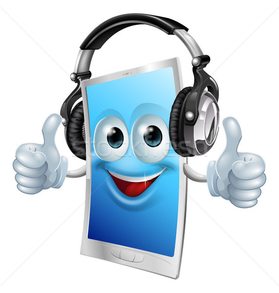 Headphones phone man Stock photo © Krisdog