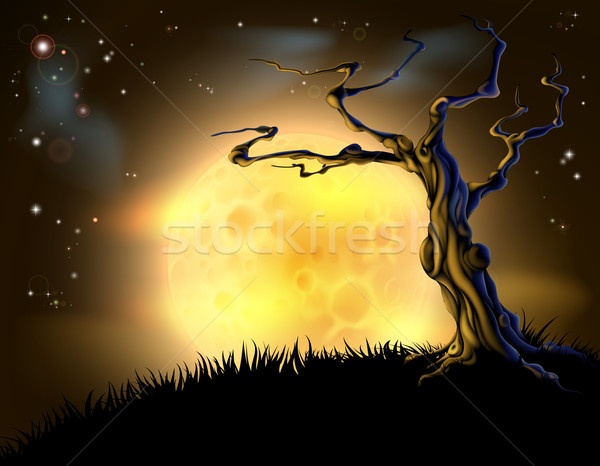 Orange Halloween Moon Tree Background Stock photo © Krisdog