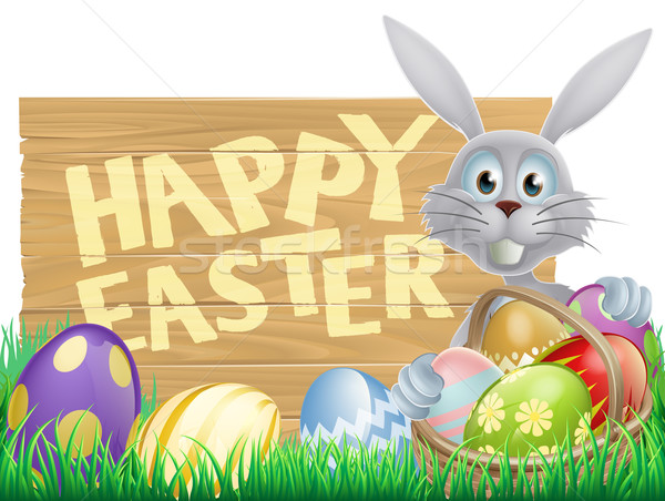 Wooden sign Happy Easter bunny Stock photo © Krisdog
