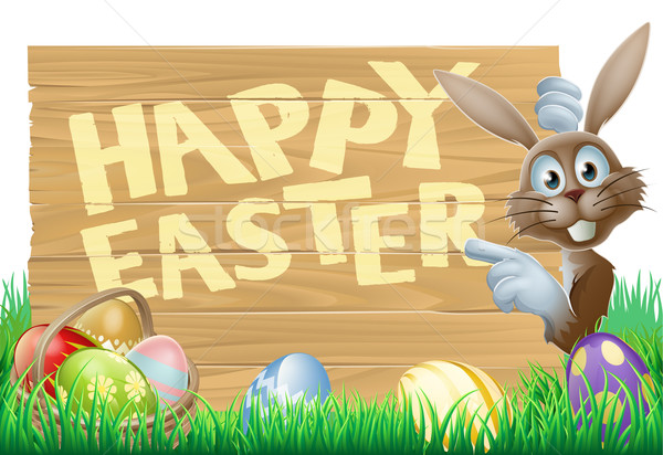 Easter eggs and bunny sign Stock photo © Krisdog