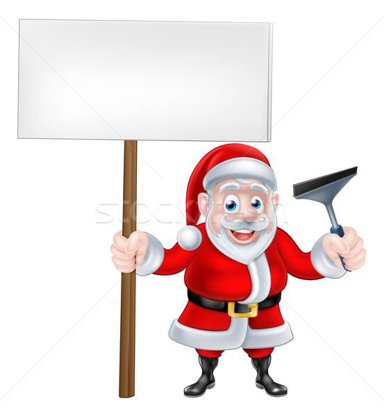 Cartoon Santa Holding Sign and Squeegee Stock photo © Krisdog