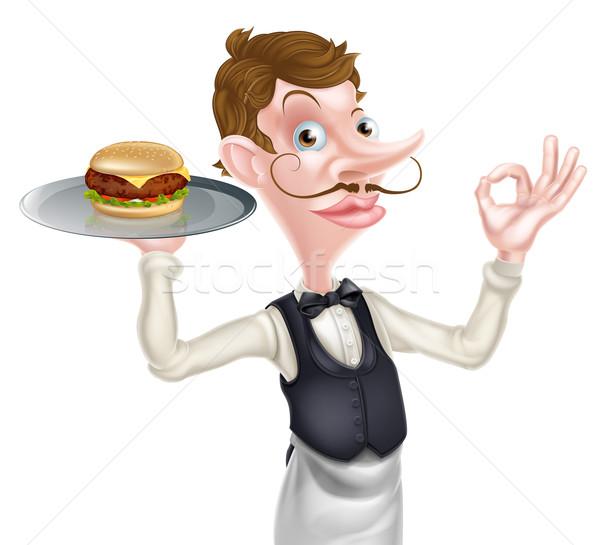 Hamburger pincér tökéletes felirat illusztráció rajz Stock fotó © Krisdog