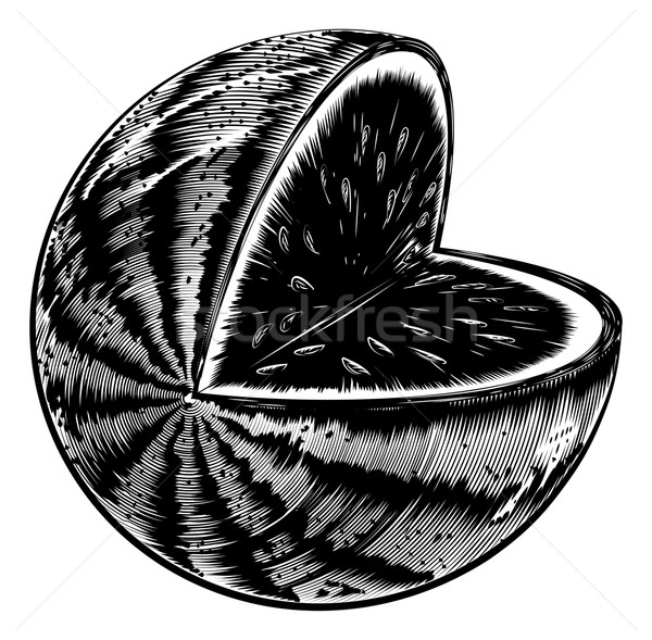 Vintage Woodcut Watermelon Stock photo © Krisdog