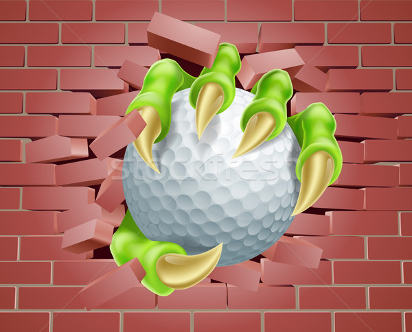 Claw with Golf Ball Breaking Through Brick Wall Stock photo © Krisdog